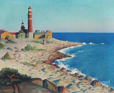 Watercolor Painting - Lighthouse by Celestial Images
