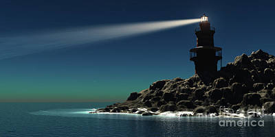 Beam Digital Art - Lighthouse by Corey Ford
