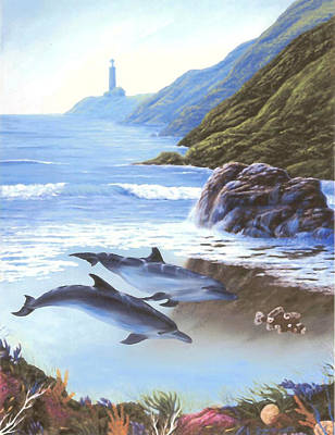 Painting - Lighthouse Cove, Dolphins by Susan Elizabeth Wolding
