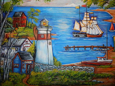 New England Lighthouse Painting - Lighthouse Cove by Theresa Prokop