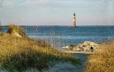 Photograph - Lighthouse From Beach At Dusk by Patricia Schaefer