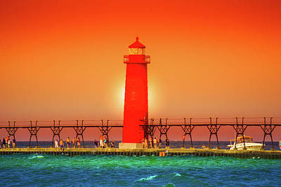 Muskegon Lighthouse Wall Art - Photograph -  Lighthouse Grand Haven Sunset, Michigan by Art Spectrum