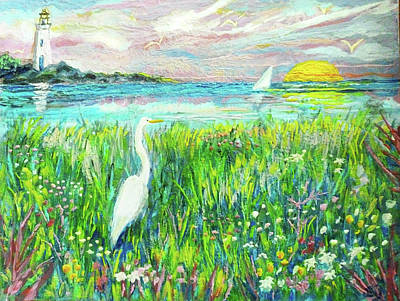 Painting - Lighthouse Heron by Jean Batzell Fitzgerald