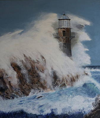 Painting - Lighthouse In A Storm by David Hawkes