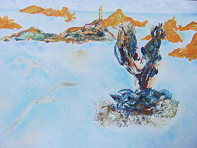 Painting - lighthouse  in Adriatic sea by Vlado Katkic