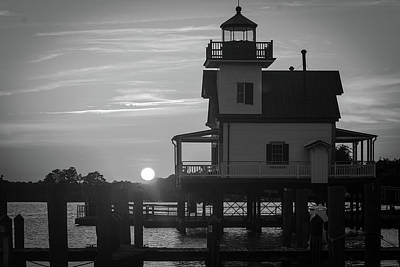 Lighthouse In Black And White Art Print by Carolyn Ricks