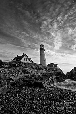 Lighthouse In Black And White Art Print by David Bishop