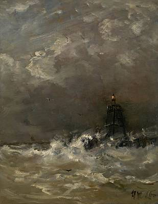 Scheveningen Painting - Lighthouse In Breaking Waves by Movie Poster Prints