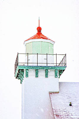 Photograph - Lighthouse In Door County 2032t by Doug Berry