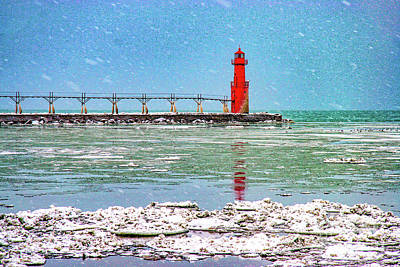 Photograph - Lighthouse In Door County With Snow Falling 1924t by Doug Berry