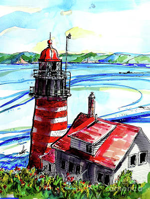 Painting - Lighthouse In Maine by Terry Banderas