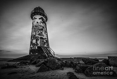 Lighthouse In Mono Art Print