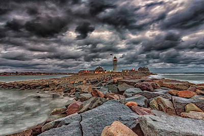 Photograph - Lighthouse In Storm by Brian MacLean