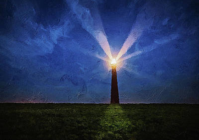 Digital Art - Lighthouse In The Dusk by PixBreak Art