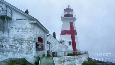 Maine Lighthouses Painting - Lighthouse In The Fog by Edward Fielding