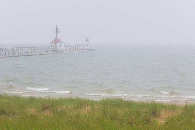 Photograph - Lighthouse In The Mist by Jack R Perry