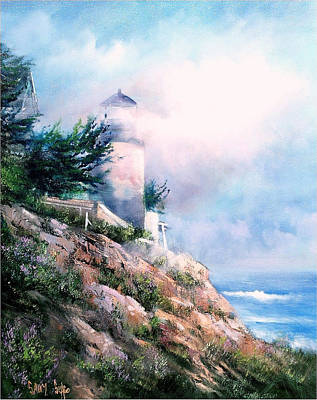 Lighthouse In The Mist Art Print by Sally Seago