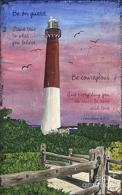 Coastal Quote Wall Art - Painting - Lighthouse Inspirational by Debbie DeWitt