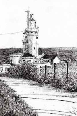 Sea View Drawing - Lighthouse Isle Of Wight by Vincent Alexander Booth