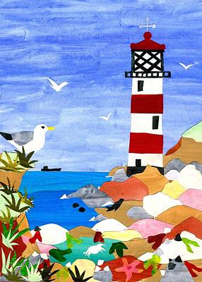 Mixed Media - Lighthouse by Judy Adamson