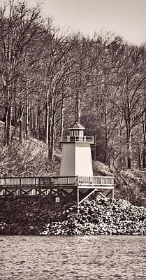 Photograph - Lighthouse Landing Marina Inlet - B/w by Greg Jackson