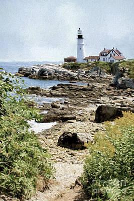 Lighthouse Landscape Art Print by Jayne Carney