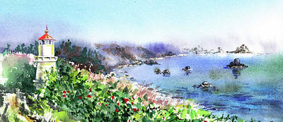 Painting - Lighthouse Landscape Watercolor by Irina Sztukowski