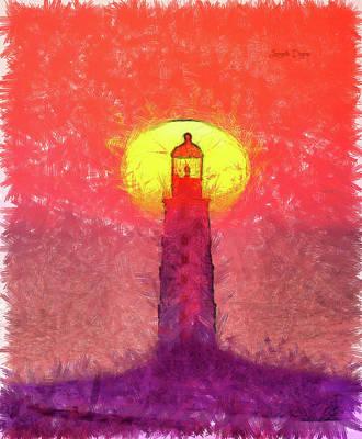 Plum Painting - Lighthouse by Leonardo Digenio