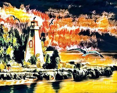 Mixed Media - Lighthouse by Lita Kelley