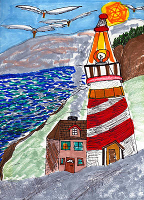 Beach Landscape Drawing - Lighthouse by Lucy Lu