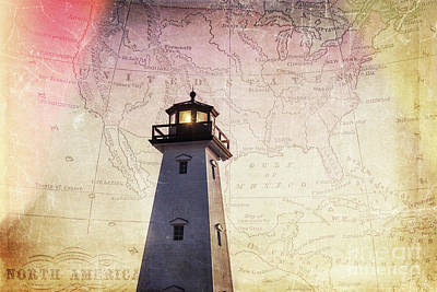 Angels And Cherubs - Lighthouse Map by Joan McCool