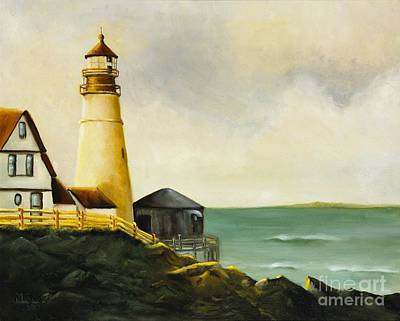 Portland Head Lighthouse Painting - Lighthouse In Oil by Marlene Book