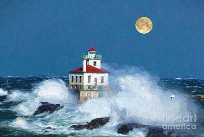 Beach Mixed Media - Lighthouse Moon by Garland Johnson