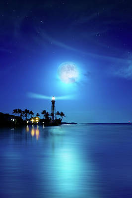 Photograph - Lighthouse Moon by Mark Andrew Thomas