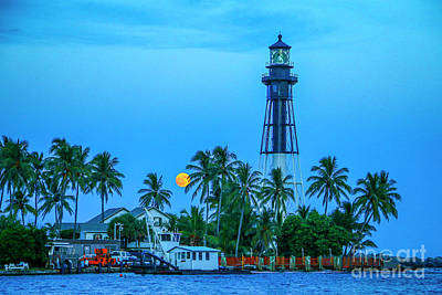 Photograph - Lighthouse Moon by Tom Claud