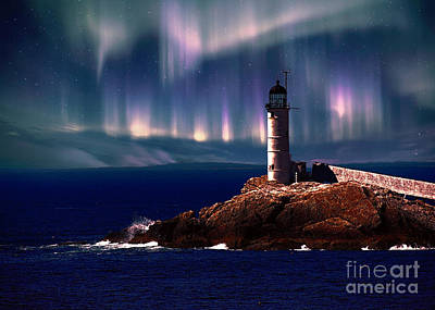 Nh Photograph - Lighthouse Northern Lights by Mim White
