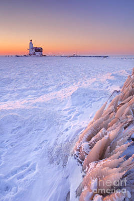 Markermeer Photograph - Lighthouse Of Marken In The Netherlands At Sunrise In Winter by Sara Winter