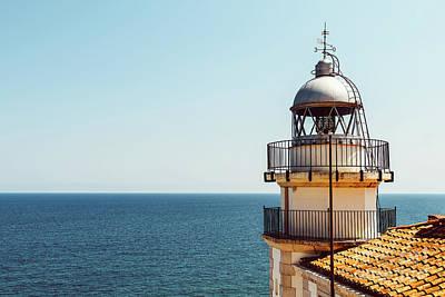 Lighthouse Of Papa Luna Castle In Peniscola, Spain Art Print