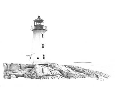 Drawing - Lighthouse Of Peggy's Cove by Patricia Hiltz