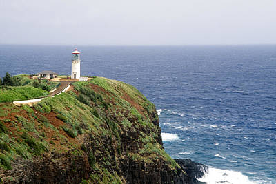 Lighthouse On A Cliff Kileaua Lighthouse Art Print by George Oze
