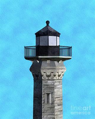 Light Paint Painting - Lighthouse On Blue by Pierre Blanchard