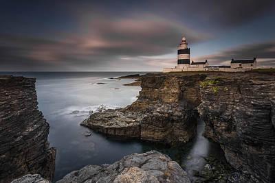 Lighthouse On Cliffs Art Print