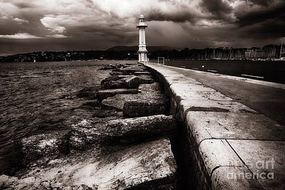 Lake Leman Photograph - Lighthouse On Lake Geneva  by George Oze