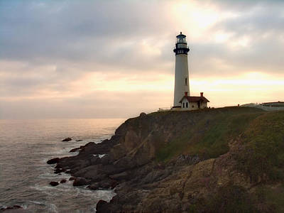 Lighthouse On The Cliff  Pigeon Point  California Art Print by George Oze