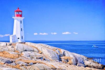 Beach Mixed Media - Lighthouse On The Rocks 2 by Garland Johnson