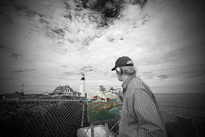Digital Art - Lighthouse Painter by Patrick Groleau