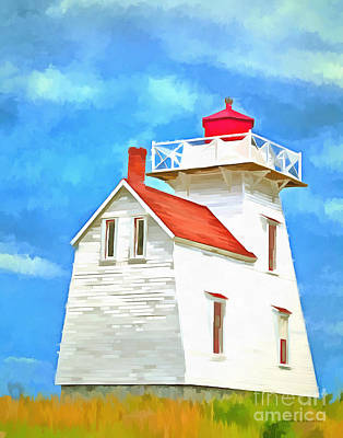 Maine Shore Painting - Lighthouse Painting by Edward Fielding