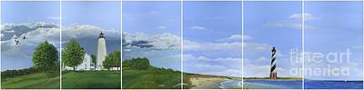 Painting - Lighthouse Panels by Rosellen Westerhoff