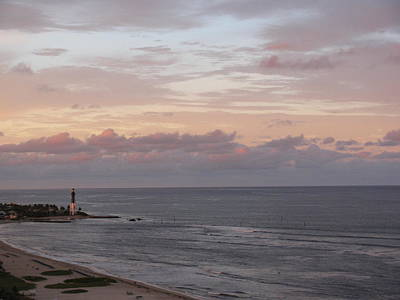 Lighthouse Peach Sunset Art Print