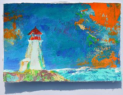 Painting - Lighthouse Peggy's Cove Turquoise Orange by Eduard Meinema